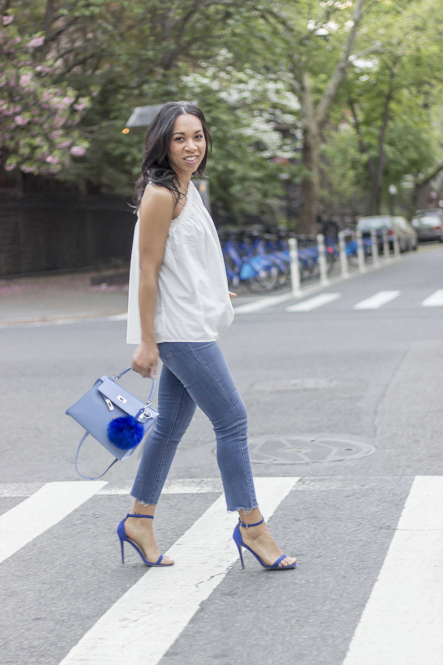 "thewaytomyhart, the way to my hart, Jessica Hart, Fashion Blogger, Style blogger, teddy blake, teddy blake eva 11, soft blue leather teddy blake eva 11"", H&M, one shoulder blouse, one shoulder top, the perfect spring bag,"